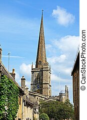 Church spire, Burford - St John the Baptist church seen from...