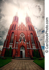 Abandoned Catholic Church in Gothic style in frightening...