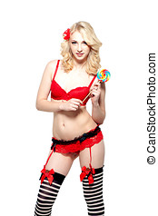 Woman in lingerie with lollipop - Sexy blond woman in...
