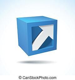 3D cube logo with arrow - Blue vector 3D cube logo with...