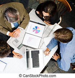 aéreo, vista, empresa / negocio, reunión