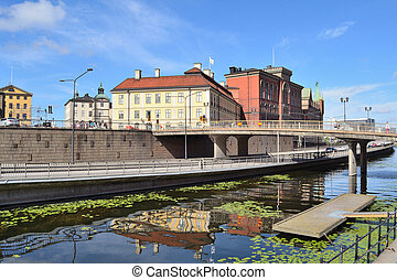 Stockholm. Island Riddarholmen - Stockholm, Sweden. View of...