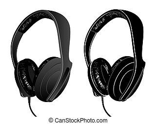 Earphones - The image of earphones isolated on white.