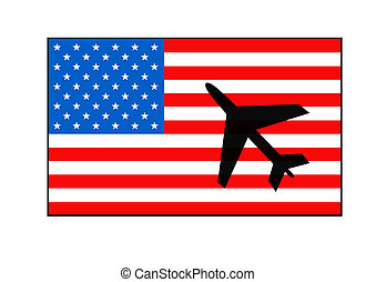 American flag and aircraft