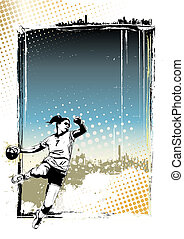 handball poster background - handball player illustration