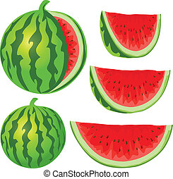 water melon - vector water melon isolated on white...