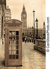 Vintage view of London, Big Ben and phone booth - Vintage...
