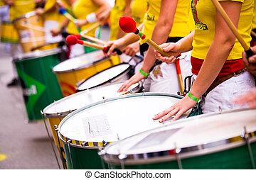samba drums - Scenes of Samba Festival - carnival in Coburg,...