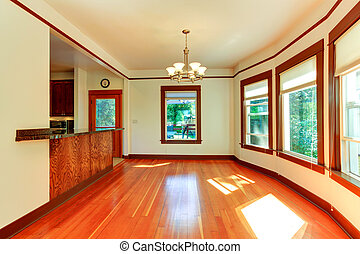 Empty house interior in soft ivory with brown trim - Empty...