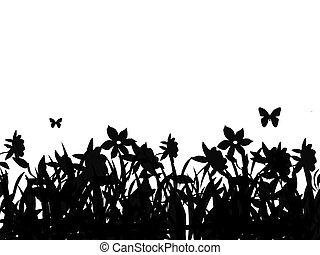 Butterflies and flowers - Silhouette of butterflies flying...