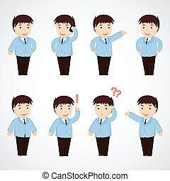 businessman. set of funny cartoon office worker in various  poses