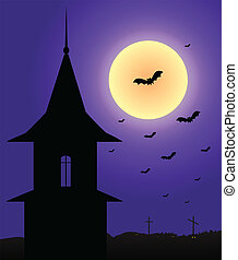 Tower in the moonlight Halloween - Illustration of the tower...