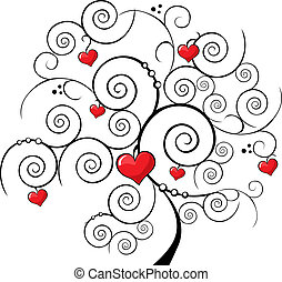 valentine tree with red heart