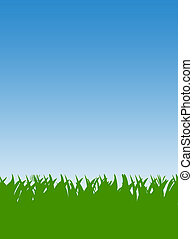 Green Grass lawn - Green grass lawn and blue sky background