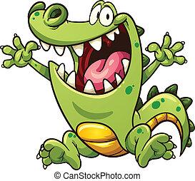 Cartoon crocodile - Happy cartoon crocodile. Vector clip art...