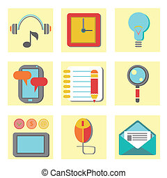 set of flat icons for web appplicat - colorful illustration...