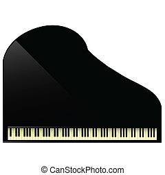 black grand piano - illustration with black grand piano icon...