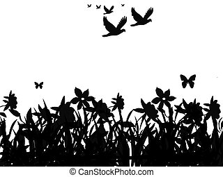Animals and nature - Silhouette of butterflies and flock of...