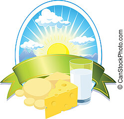 milk and cheese label with sun