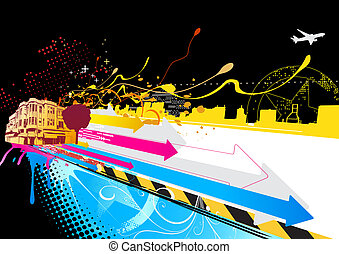urban background - illustration of color lines with style...
