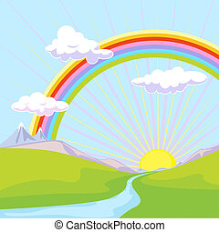 landscape with rainbow - rainbow and sun over river