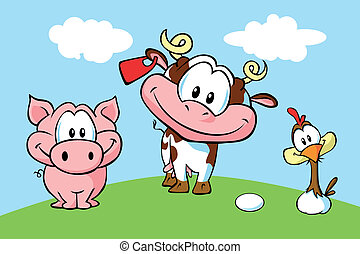 animal farm - pig, cow and hen pn green grass