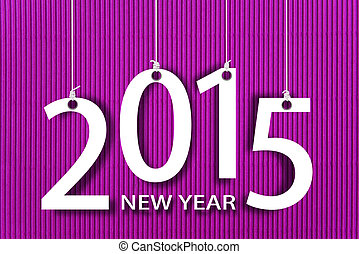 Happy new year 2015 on corrugated paper background.