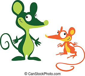 Mouses - two Mouses standing on white background