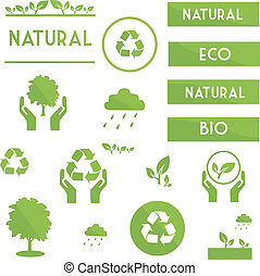 Ecological elements symbols and signs of green color on a...