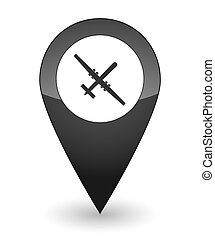 Map mark with a drone icon - Illustration of an isolated map...