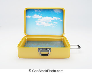 Travel suitcase. beach vacation. isolated white - image of...