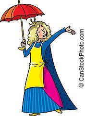 Felice, canto, donna, corona, ombrello