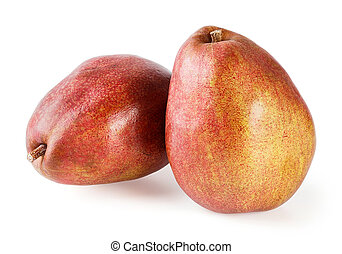 Red pear - Close up red pear isolated on white - deep focus...