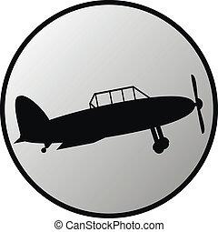 Retro military airplane button