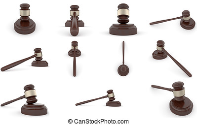 Wooden Gavel - Woodenn gavel and soundboard on a white...