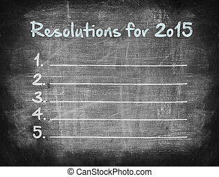 Resolutions for 2015, handwriting on chalkboard