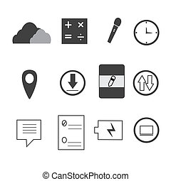 mobile icons on white background