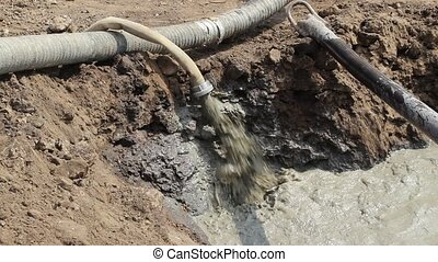 Water pumping at construction site - Pumping of dirty water,...