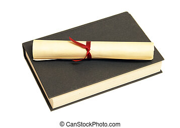 Textbook Success - A diploma sits on a textbook for...