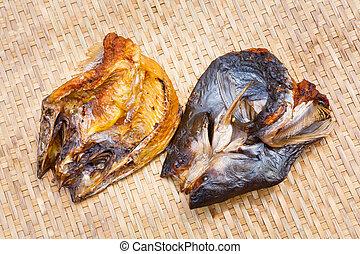 Crispy smoke dried mystus nemurus catfish - Close up Crispy...