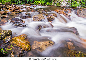 Water flowing over rocks in a creek.
