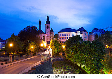 Saint Michael's Church at night in Luxembourg - Saint...