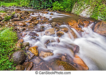 Water flowing over rocks in a creek