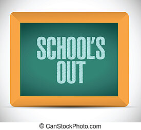 schools out blackboard illustration design over a white...