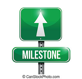 milestone sign post illustration design over a white...