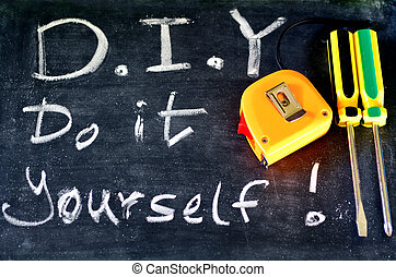 Do It Yourself concept - Do It yourself DIY Handwritten with...