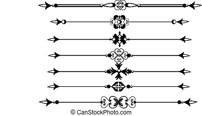 Rule lines or borders - Rule lines with scrolls and...