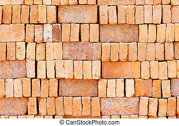 Stack of red brick - Close up stacks of red brick in...