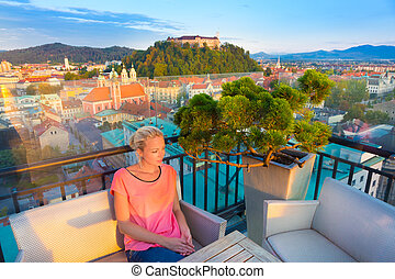 Panorama of Ljubljana, Slovenia, Europe. - Female tourist...