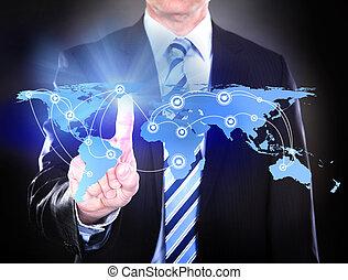 ビジネスマン, 感動的である, 接続される, 世界, 地図